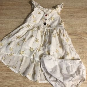 White and Gold Baby Star Dress